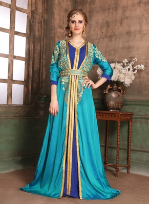 Green embroidered crepe islamic kaftans