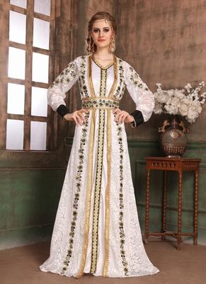 White embroidered satin islamic kaftans