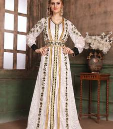 White Embroidered Satin Islamic Kaftans