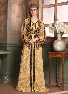 Beige Embroidered Crepe Islamic Kaftans