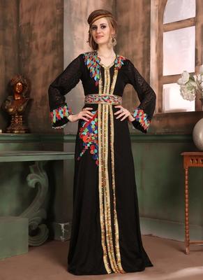 Black Embroidered Crepe Islamic Kaftans