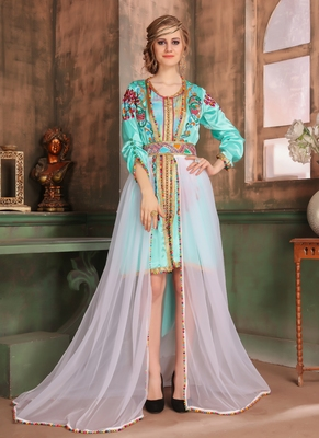 Multicolor embroidered georgette islamic kaftans