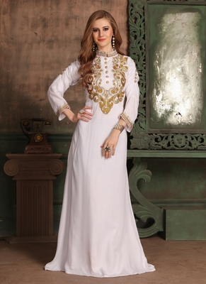 White Embroidered Rayon Islamic Kaftans