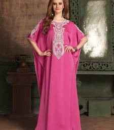 Pink Embroidered Crepe Islamic Kaftans