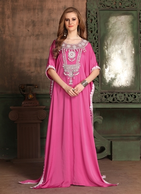 Pink Embroidered Crepe Islamic Kaftans