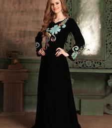 Black embroidered velvet islamic kaftans