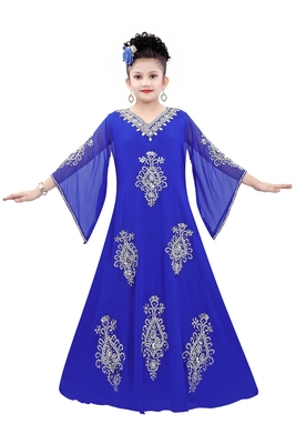 Royal Blue Georgette Embroidered Zari work islamic kaftan for girls