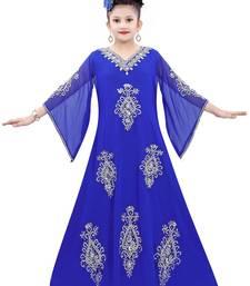 Royal Blue Georgette Embroidered Zari Work Islamic Kaftan For Girls