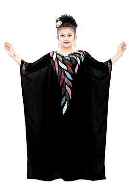 Black georgette embroidered zari work islamic kaftan for girls
