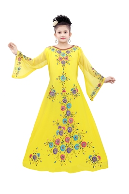 Yellow Georgette Embroidered Zari Work Islamic Kaftan For Girls