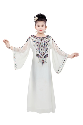 Off White Gerogette Embroidered Zari Work Islamic Kaftan For Girls