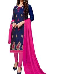 Blue Embroidered Chanderi Salwar