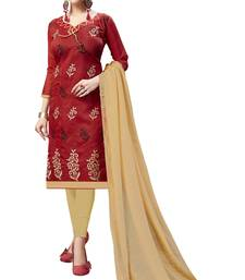 Red Embroidered Chanderi Salwar