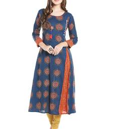 Blue printed viscose kurtas-and-kurtis
