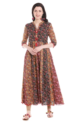 Multicolor printed viscose kurtas-and-kurtis