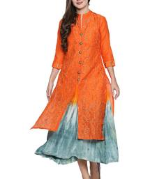 Orange embroidered cotton kurtas-and-kurtis