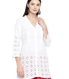 White solid viscose kurtas-and-kurtis