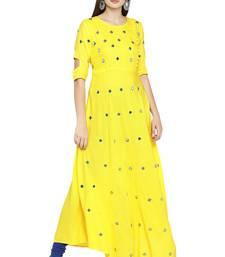 Yellow solid viscose kurtas-and-kurtis