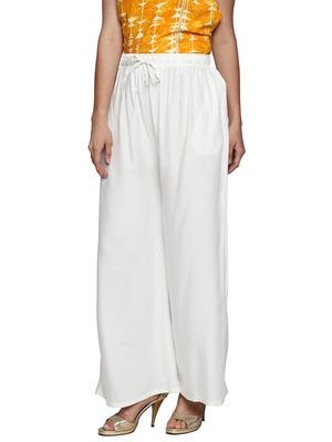 Ishin Rayon White Solid Flared Women's Palazzos