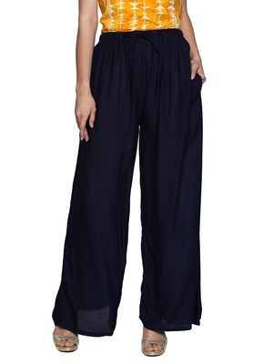 Ishin Rayon Navy Blue Solid Flared Women's Palazzos