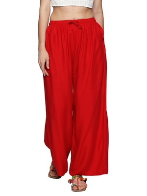 Ishin Rayon Red Solid Flared Women's Palazzos