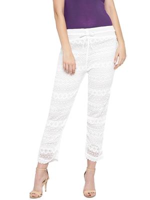 Ishin Women's White Printed Straight Palazzos