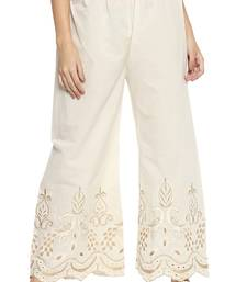 Ishin Rayon Cream Embroiderd Women's Palazzos