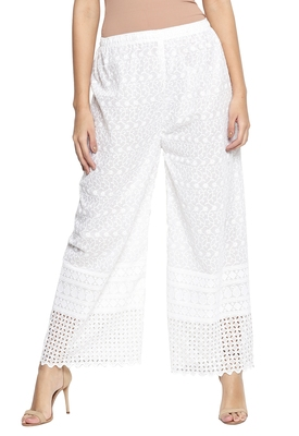 Ishin Cotton White Embroiderd Chikankari Women's Palazzos