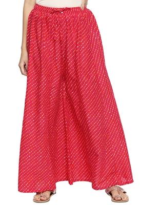 Ishin Women's Cotton Pink Printed Wide leg Palazzos