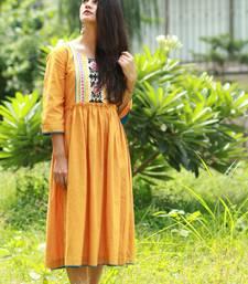 Mustard embroidered yoke dress