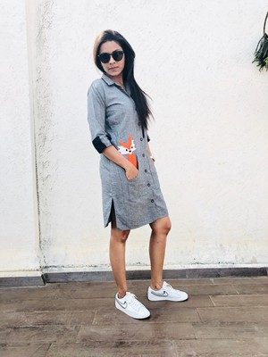Grey fox shirt dress