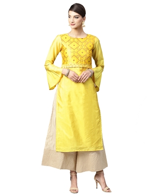 Yellow Geometric Art Silk Kurta