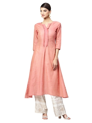 Pink Solid Cotton Kurta