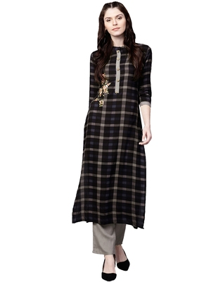 Black embroidered viscose palazzo kurta