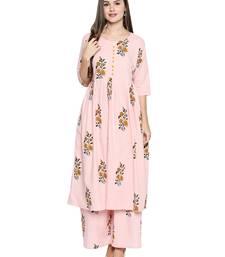 Pink printed cotton palazzo kurta