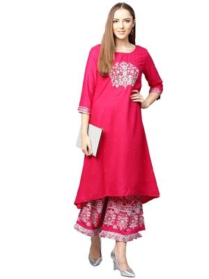 Pink embroidered viscose palazzo kurta