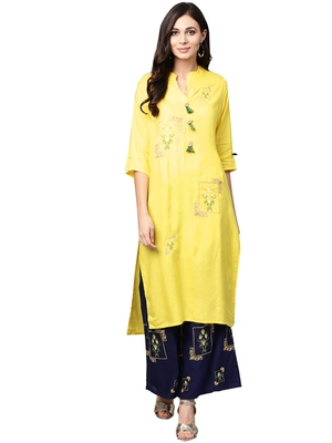 Yellow embroidered viscose palazzo kurta