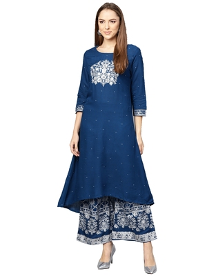Blue embroidered viscose palazzo kurta