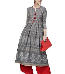 Grey embroidered cotton palazzo kurta