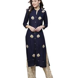 Navy blue embroidered viscose palazzo kurta