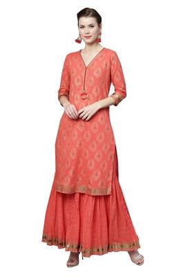 Red printed cotton palazzo kurta