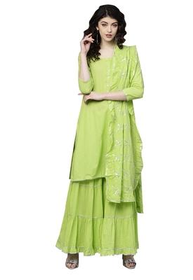 Green printed cotton palazzo kurta