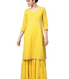 Mustard embroidered cotton palazzo kurta