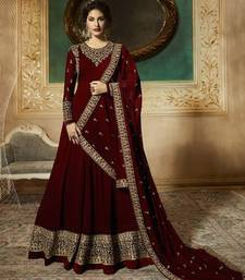 Maroon Embroidered Georgette Anarkali