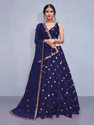 f03141ce45 Navy-blue embroidered silk semi stitched lehenga - Trishulom Cloth's Online  - 2872674