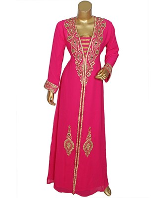 Fuchsia Pink Embroidered Crystal Embellished Arabian Traditional Chiffon Kaftan / Gown