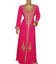 Fuchsia Pink Embroidered Crystal Embellished Arabian Traditional Chiffon Kaftan / Gown