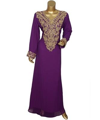 Purple Embroidered Crystal Embellished Arabian Traditional Chiffon Kaftan / Gown