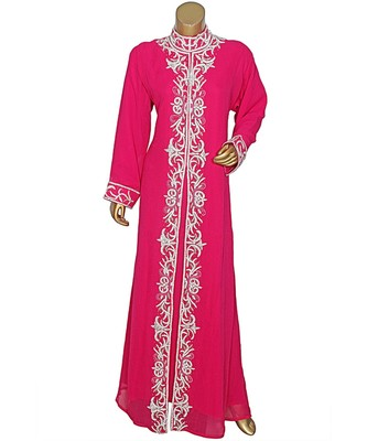 Fuchsia Pink Embroidered Crystal Beads Embellished Traditional Chiffon Kaftan / Gown