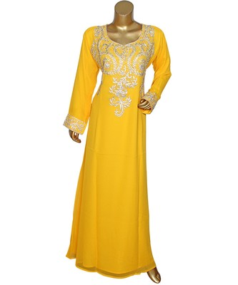 Yellow Embroidered Crystal Embellished Arabian Traditional Chiffon Kaftan / Gown